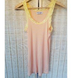 💥 Michael Stars 💥 Yellow Lace Orange Stripe Tee